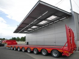 Trailer transporturi agabaritice 100To, Camion jumbo si remorca transcontainer